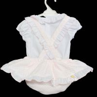 * Baby Girl White Spanish Pink Waffle Brace Skirt Set Pinafore Set
